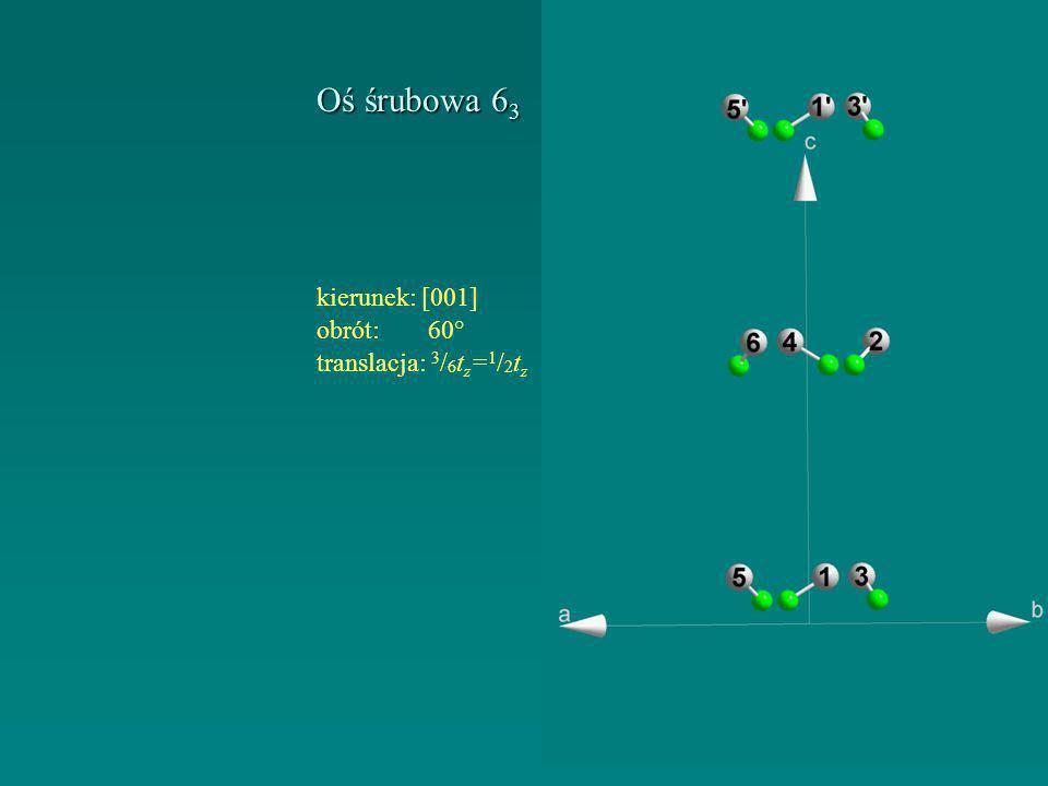 Oś śrubowa 63 kierunek: [001] obrót: 60° translacja: 3/6tz=1/2tz